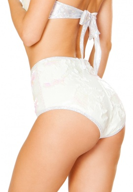 Pearl White Reversible Sequin High Waist Shorts
