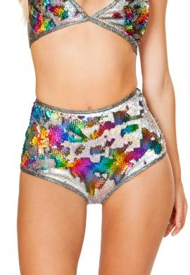 Rainbow Reversible Sequin High Waist Shorts