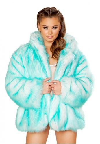 Aqua Tipped Hip Length Coat