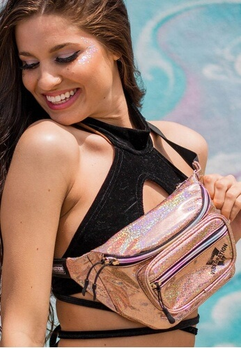 Champagne Sparkles Holographic Sling Fanny Pack
