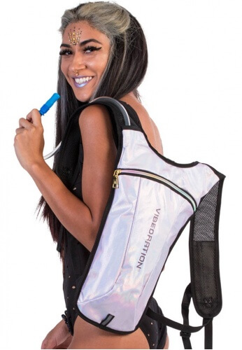 GA White Faux Leather Hydration Bag