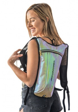 GA Holographic Lavender Lime Faux Leather Hydration Bag