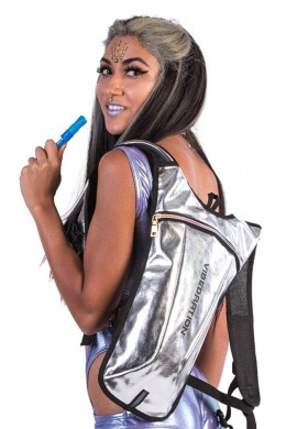 GA Holographic Silver Faux Leather Hydration Bag