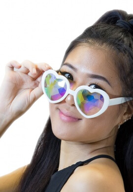 White Heart Kaleidoscope Glasses