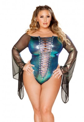 Black Opal Holographic Lace-Up Gypsy Sleeve Bodysuit