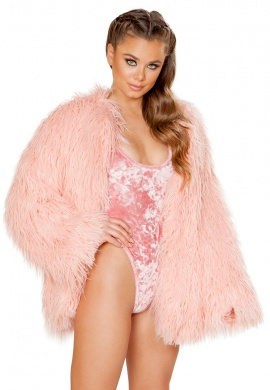 Vintage Rose Faux Fur Coat
