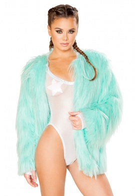 Malibu Blue Faux Fur Coat