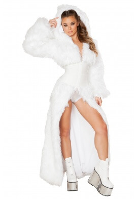 Light Up LED White Shag Cincher Coat