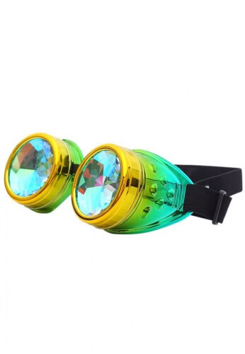 Metallic Lemon and Lime Kaleidoscope Goggles