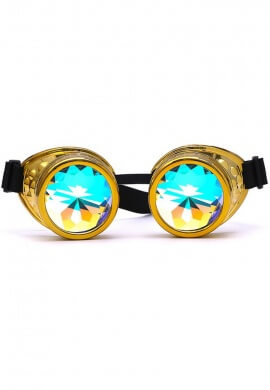Chrome Gold Kaleidoscope Goggles