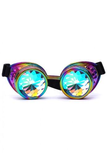 Chrome Rainbow Kaleidoscope Goggles