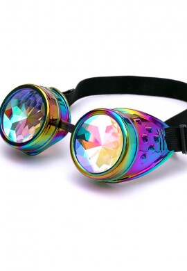 Chrome Rainbow Kaleidoscope Goggles