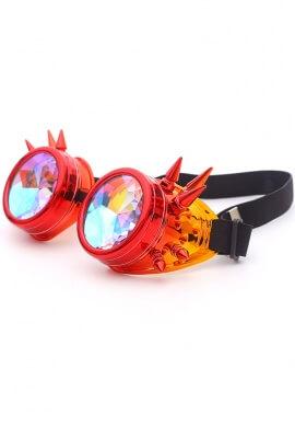 Metallic Fire Spiked Kaleidoscope Goggles