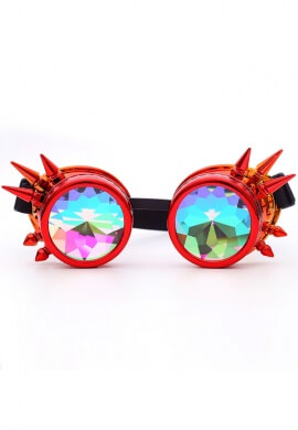 Metallic Fire Spiked Kaleidoscope Goggles
