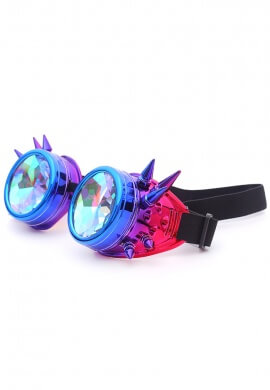 Holographic Unicorn Spiked Kaleidoscope Goggles