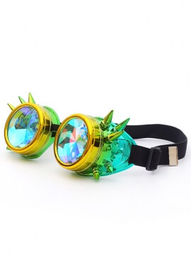Lemon and Lime Spiked Kaleidoscope Goggles