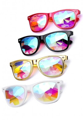 Metallic Red Wayfarer Kaleidoscope Glasses