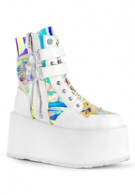 White and Holographic Damned-115 Ankle Boots