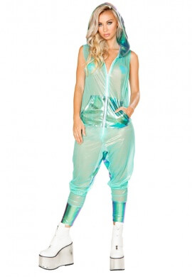 Mint Mesh Metallic Zipper Front Jumpsuit