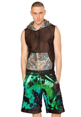 Black and Blue Sequin Board Shorts