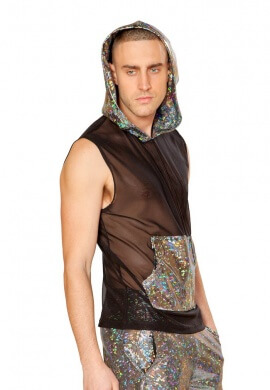 Metallic and Mesh Hooded Top