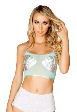 Silver Shell Mesh Top