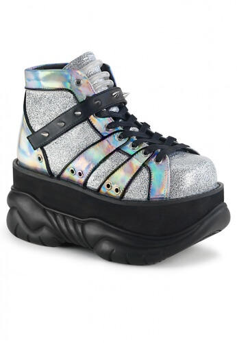 Demonia Silver Holographic Neptune-100 Boots
