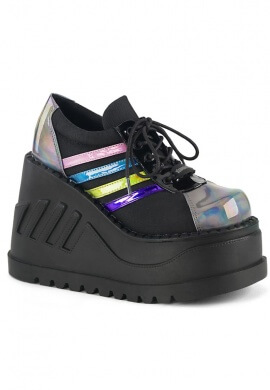 Demonia Black and Rainbow Stomp-08 Shoes