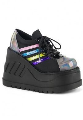 Demonia Black and Rainbow Stomp-08 Shoes