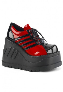 Demonia Red and Black Stomp-08 Shoes