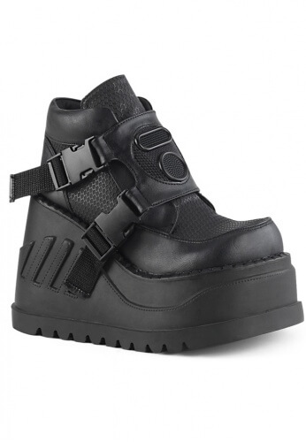 Demonia Black Stomp-15 Platform Boots
