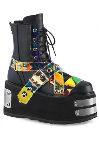 Demonia Damned-116 Black and Holographic Ankle Boot
