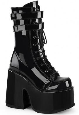 Demonia Black Camel-250 Chunky Heel Boots
