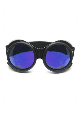 Flat Black Cyber Goggles with Blue Lenses