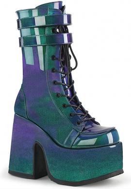 Demonia Hologram Camel-250 Chunky Heel Boots