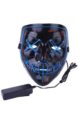 Blue EL Wire Light Up Purge Mask