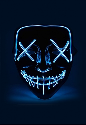 Blue EL Wire Light Up Purge Mask
