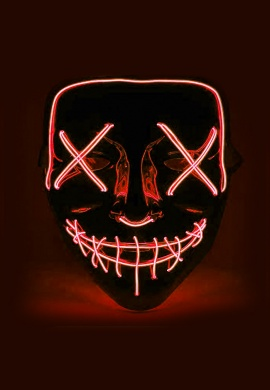 Red EL Wire Light Up Purge Mask