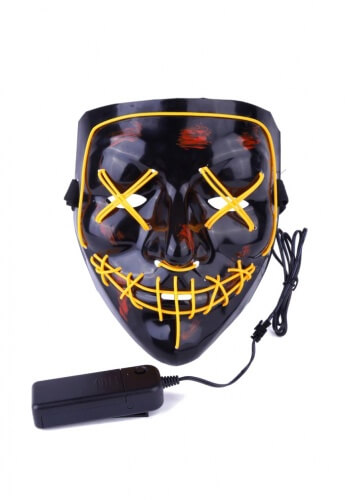 Yellow EL Wire Light Up Purge Mask
