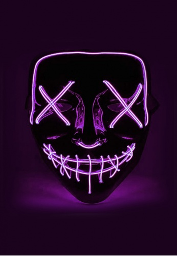 Purple EL Wire Light Up Purge Mask