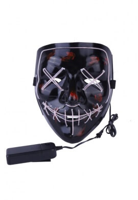 White EL Wire Light Up Purge Mask