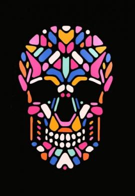 LED Light Up Geometric Skeleton Mask