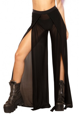 Black Mesh Gypsy Pants