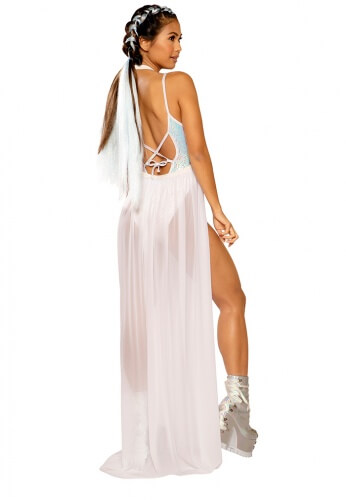 White Iridescent Gypsy Harness Skirt