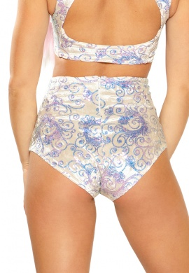 White Prism Sequin Velvet High-Waist Shorts