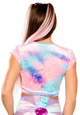 Tie-Dye Stretch Velvet Crop Top