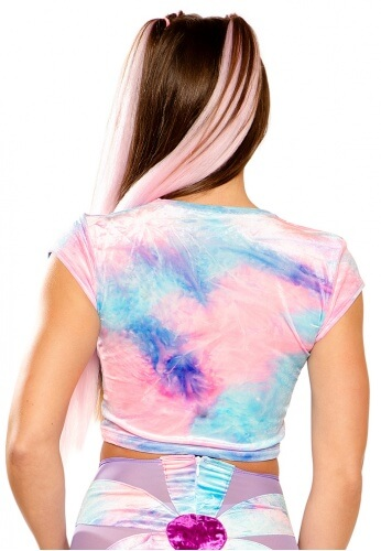 Tie-Dye Stretch Velvet Crop Top