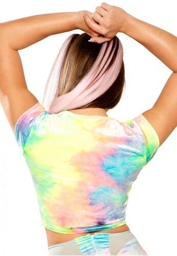 Pastel Tie-Dye Stretch Velvet Crop Top