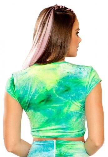Sea Tie-Dye Stretch Velvet Crop Top