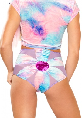 Cotton Kandi Tie-Dye Daisy High-Waist Short